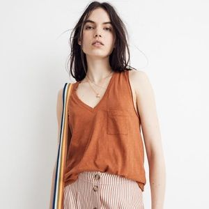 Madewell Rust Orange V-neck Single Pocket Tank Top